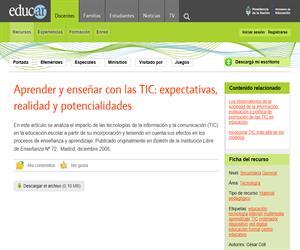 Aprender y enseñar con las TIC: expectativas, realidad y potencialidades