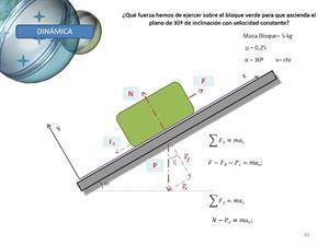 Dinámica - Ejercicio plano inclinado con rozamiento y velocidad cte.