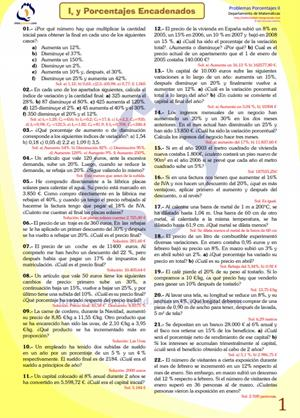 Ejercicios con soluciones de: Aumentos y Disminuciones Porcentuales Encadenados (selectividad.intergranada.com)