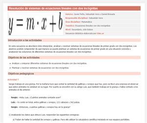 Resolución de sistemas de ecuaciones lineales con dos incógnitas