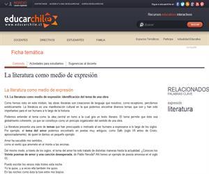 La literatura como medio de expresión (Educarchile)