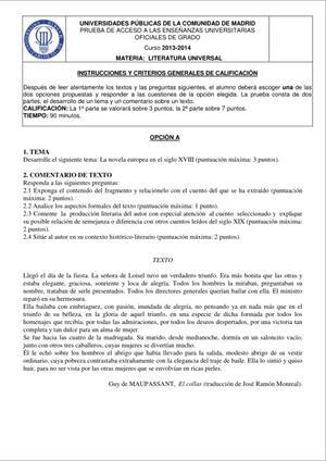 Examen de Selectividad: Literatura universal. Madrid. Convocatoria Junio 2014