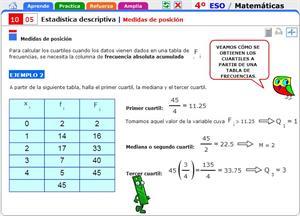Estadística descriptiva. Medidas de posición. Matemáticas para 4º de Secundaria