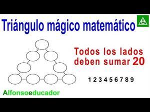 Triángulo mágico matemático lados suman 20.
