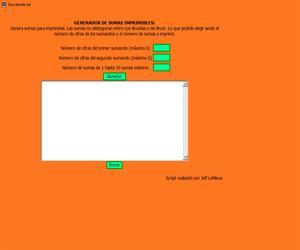 Educalandia.net: Generador de sumas para imprimir