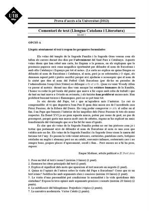 Examen de Selectividad: Lengua catalana y su Literatura. Islas Baleares. Convocatoria Junio 2013