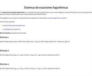 Sistemas de ecuaciones logarítmicas resueltos