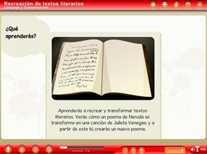Objeto Digital de Aprendizaje. Recreación de textos literarios (Educarchile)