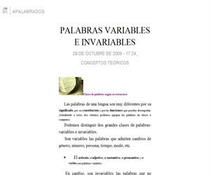 Clases de palabras: variables e invariables. Categorías gramaticales y semánticas
