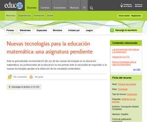 Nuevas tecnologías para la educación matemática: una asignatura pendiente