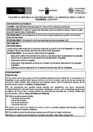 Examen de Selectividad: Diseño. Murcia. Convocatoria Junio 2014