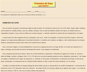 Francisco de Goya, ficha de lectura comprensiva