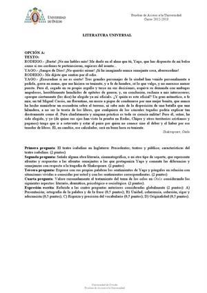 Examen de Selectividad: Literatura universal. Asturias. Convocatoria Julio 2013