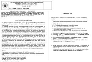 Examen de Selectividad: Alemán. Madrid. Convocatoria Junio 2015