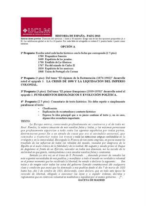Examen de Selectividad: Historia de España. Castilla-La Mancha. Convocatoria Junio 2013