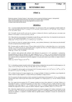 Examen de Selectividad: Física. Galicia. Convocatoria Septiembre 2013