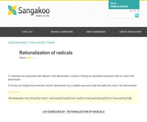 Rationalization of radicals