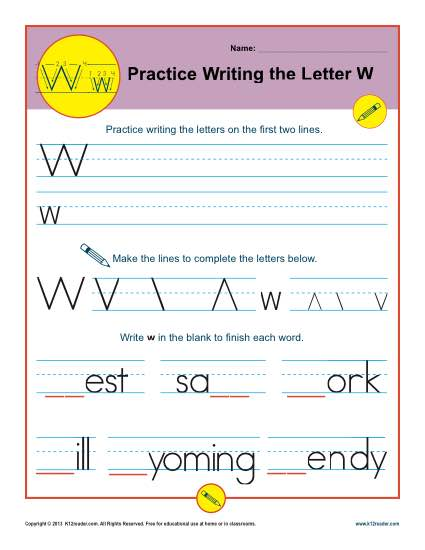 Practice Writing the Letter W