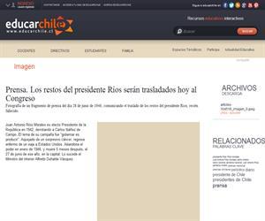 Prensa. Los restos del presidente Ríos serán trasladados hoy al <b>...</b> (Educarchile)