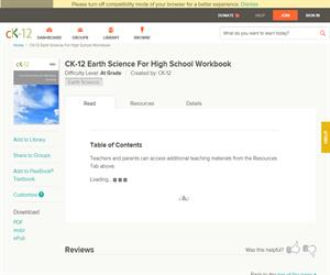 CK-12 Earth Science For High School Workboo? At grade