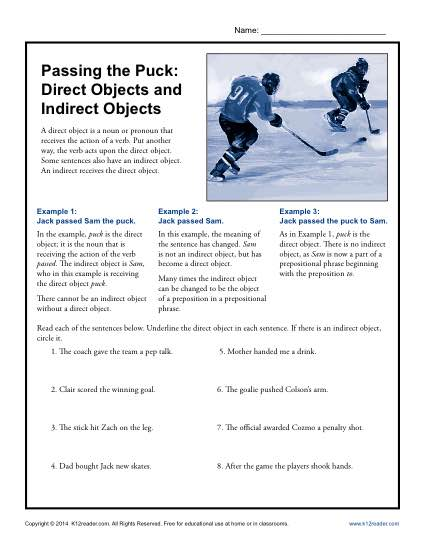Passing the Puck- Direct Objects and Indirect Objects