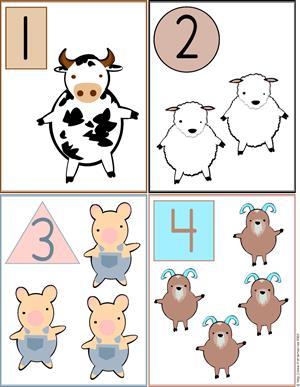 Animales de la Granja, formas y números 1 al 4. Tarjetas de Aprendizaje y Juego (primeraescuela.com)