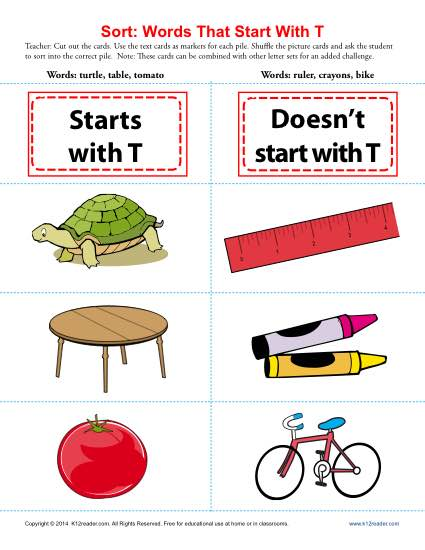 Consonant Sort: Words That Start With T