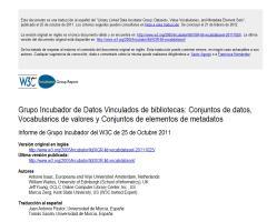 Grupo Incubador de Datos Vinculados de bibliotecas: Conjuntos de datos, Vocabularios de valores y Conjuntos de elementos de metadatos