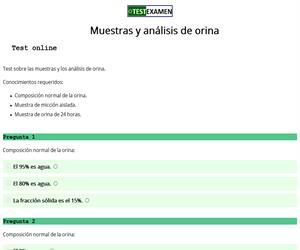 Muestras y análisis de orina (test)