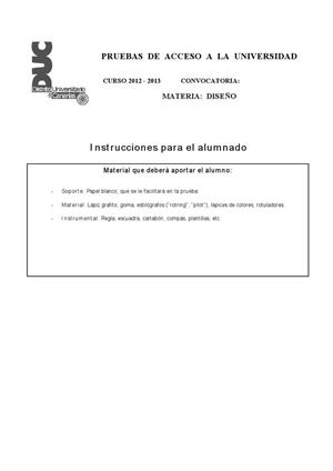 Examen de Selectividad: Diseño. Canarias. Convocatoria Julio 2013