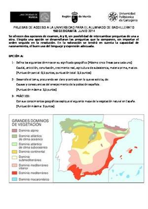 Examen de Selectividad: Geografía. Murcia. Convocatoria Junio 2014