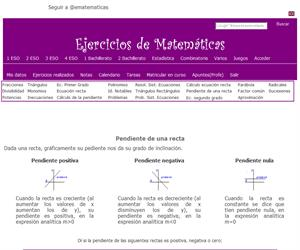 Pendiente de una recta (ematematicas.net)