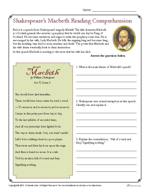 Shakespeare's Macbeth Reading Comprehension