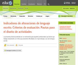 Indicadores de alteraciones de lenguaje escrito. Criterios de evaluación. Pautas para el diseño de actividades