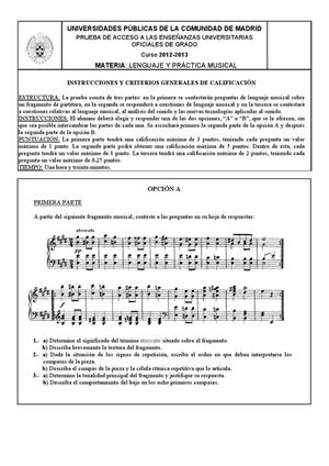 Examen de Selectividad: Lenguaje y práctica musical. Madrid. Convocatoria Junio 2013