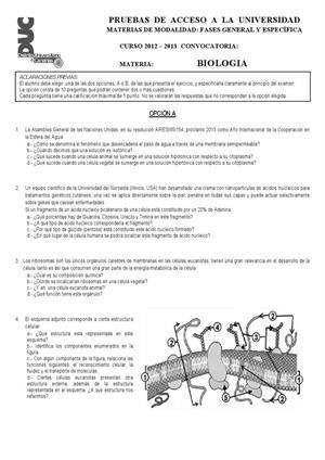 Examen de Selectividad: Biología. Canarias. Convocatoria Julio 2013