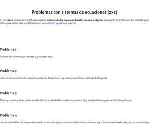 Problemas de sistemas 2x2
