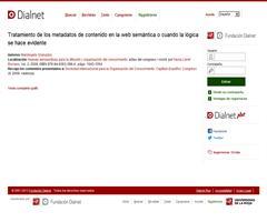 Tratamiento de los metadatos de contenido en la web semántica