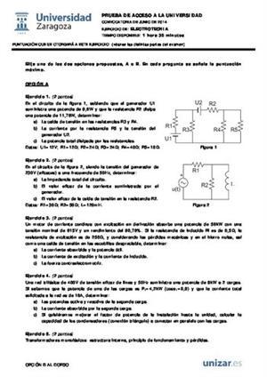 Examen de Selectividad: Electrotecnia. Aragón. Convocatoria Junio 2014