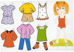 Recortables de muñecas con vestidos y utensilios (Interpeques)
