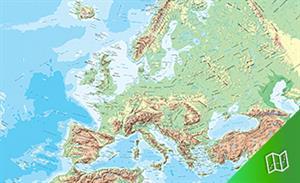 Mapa físico de Europa escala 1:10.000.000