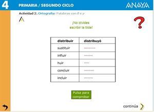 Ortografía: Palabras con ll e y. Editorial Anaya