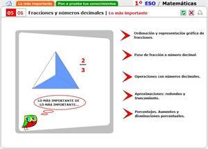 Autoevaluación. Fracciones y números decimales. Matemáticas para 1º de Secundaria