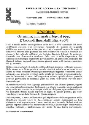Examen de Selectividad: Italiano. Canarias. Convocatoria Julio 2013