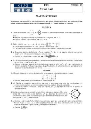 Examen de Selectividad: Matemáticas II. Galicia. Convocatoria Junio 2013
