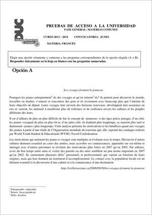 Examen de Selectividad: Francés. Comunidad Canaria. Convocatoria Junio 2014