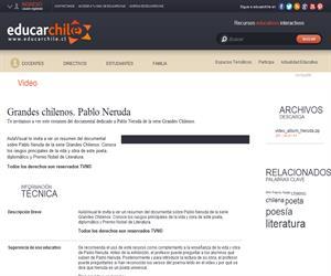 Grandes chilenos. Pablo Neruda (Educarchile)