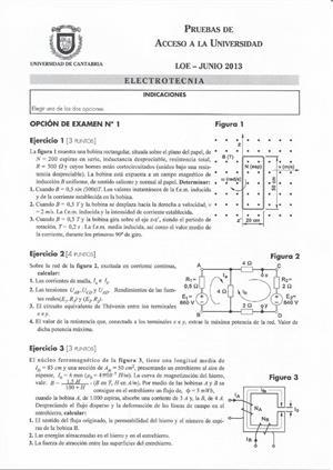 Examen de Selectividad: Electrotecnia. Cantabria. Convocatoria Junio 2013