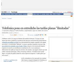 """Telefónica pone en entredicho las tarifas planas """"ilimitadas"""" · ELPAÍS.com"""