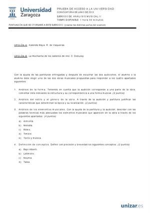Examen de Selectividad: Análisis musical. Aragón. Convocatoria Junio 2013